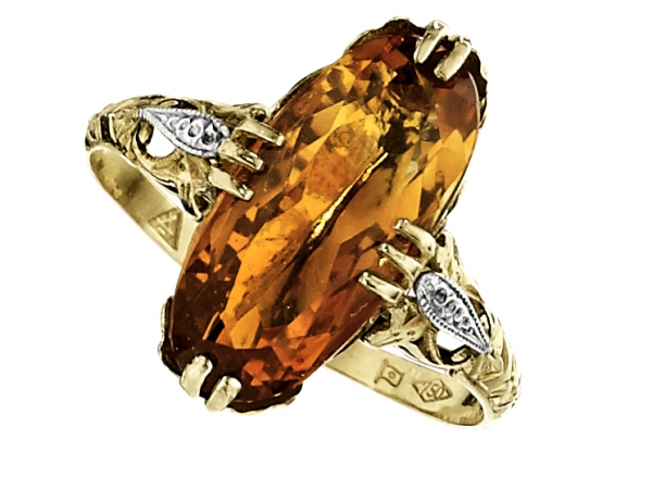 Cow Wedding Rings | Two Tone Gold Citrine And Diamond Ring Estate Jewelry From